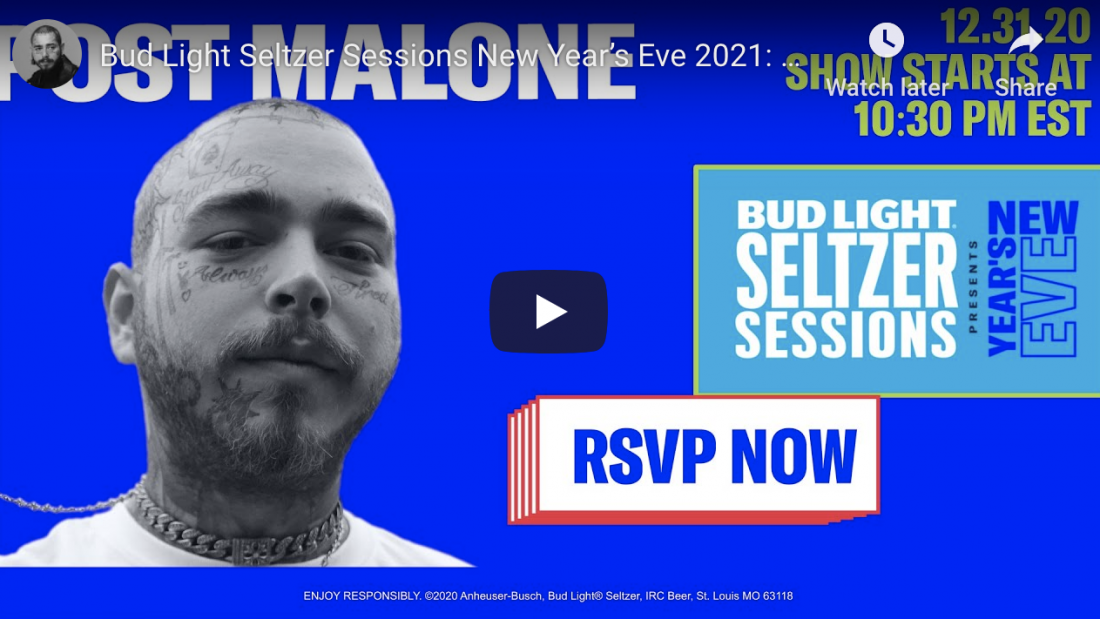 Bud Light Seltzer Sessions New Year's Eve 2021: Post Malone